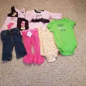9-12M baby clothes DRESSES, TOPS, PANTS, BIB, HATS